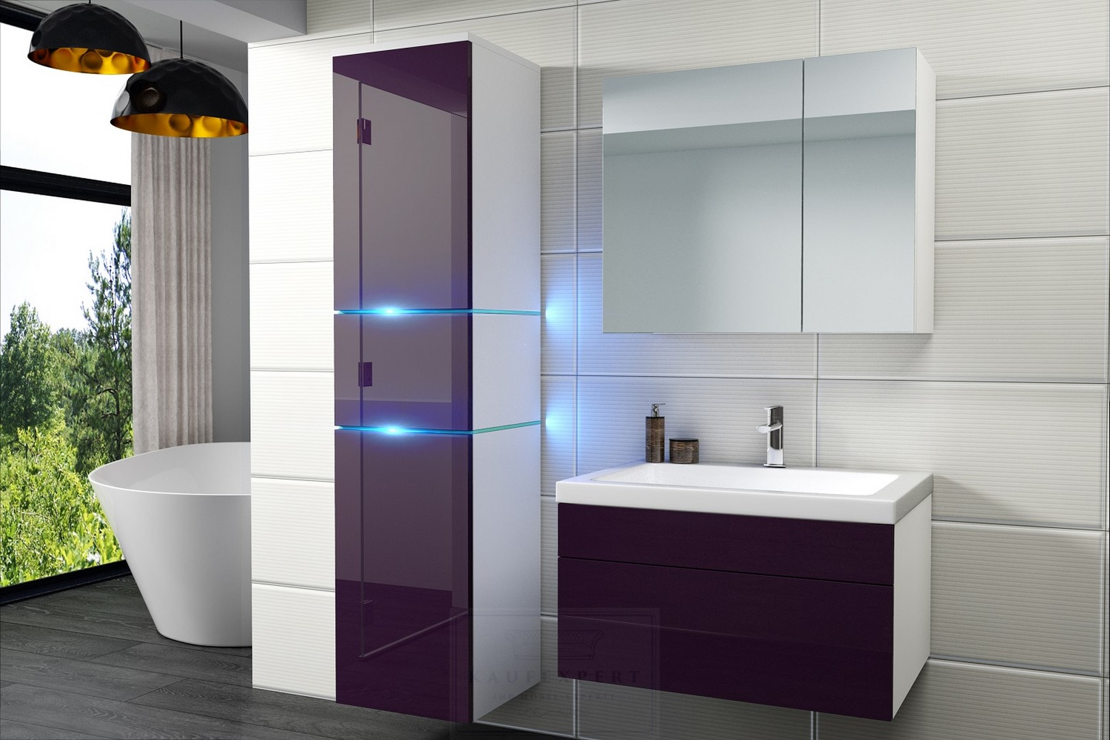 badm bel set ledox 170 aubergine hochglanz wei. Black Bedroom Furniture Sets. Home Design Ideas