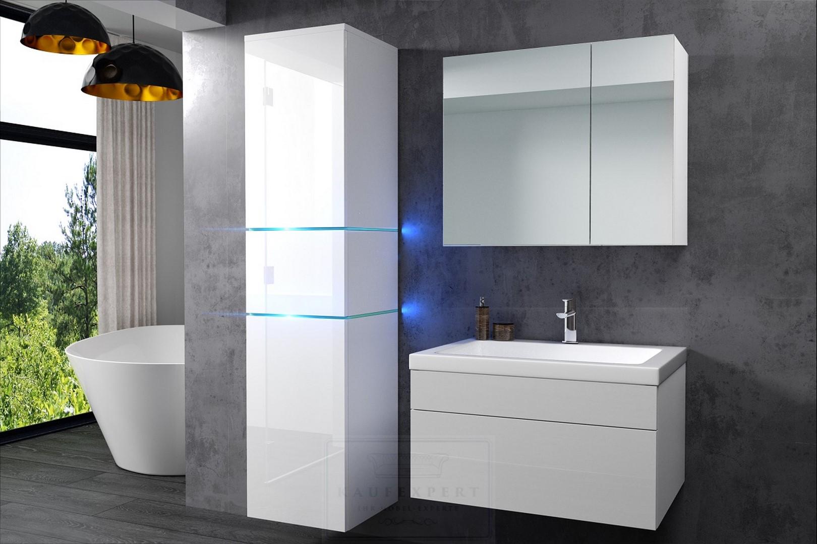 badm bel set ledox 170 rot hochglanz schwarz led beleuchtung badezimmerm bel ebay. Black Bedroom Furniture Sets. Home Design Ideas
