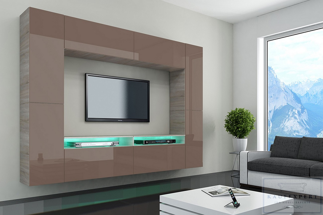 neuheit wohnwand cinema cappuccino hochglanz sonoma mediawand led concept modern ebay. Black Bedroom Furniture Sets. Home Design Ideas