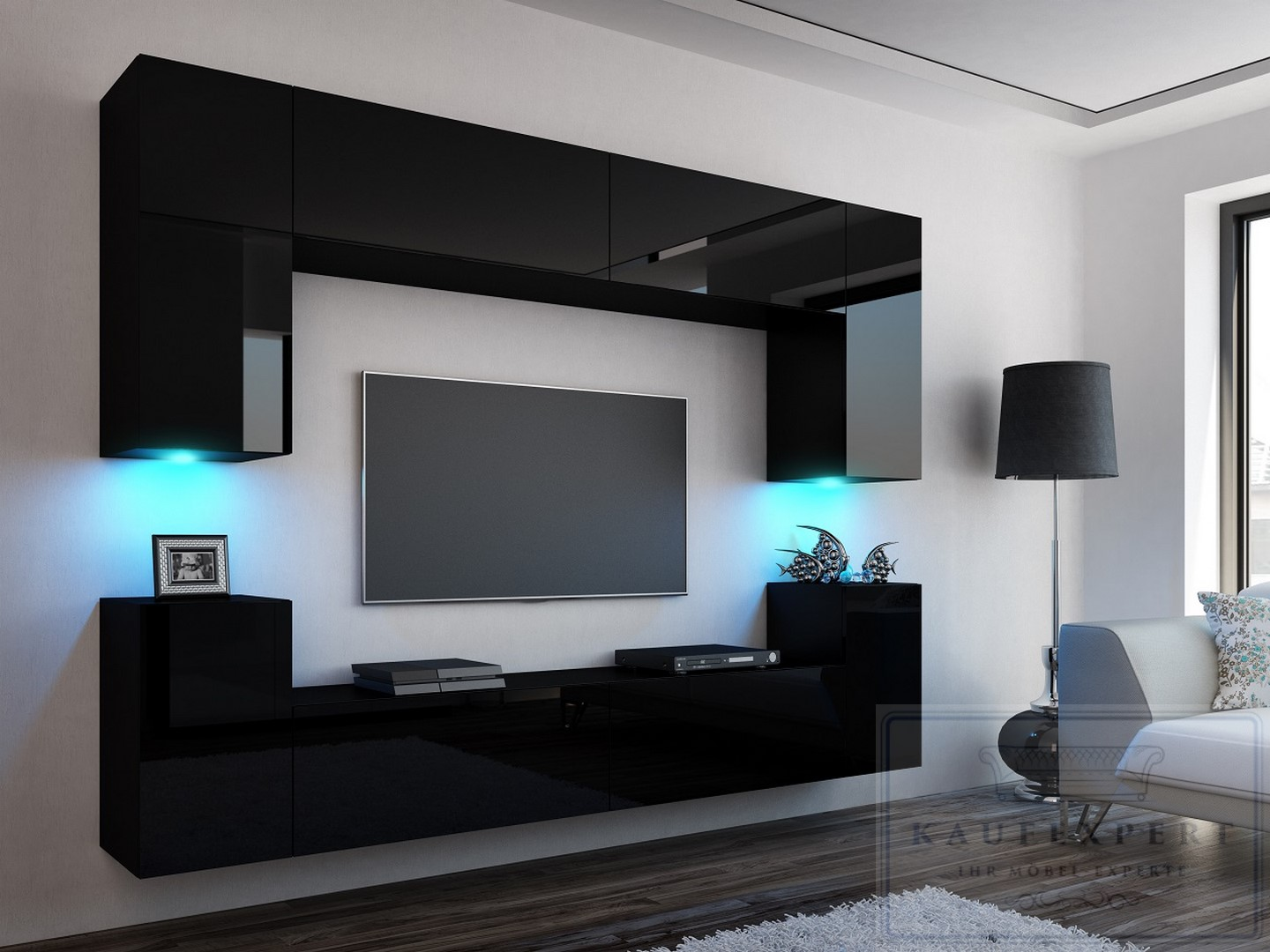 neuheit wohnwand concept mdf 1 schwarz hochglanz. Black Bedroom Furniture Sets. Home Design Ideas