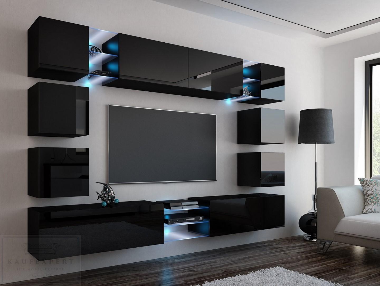 Wohnwand EDGE Anbauwand Mediawand Hochglanz Design LED ...