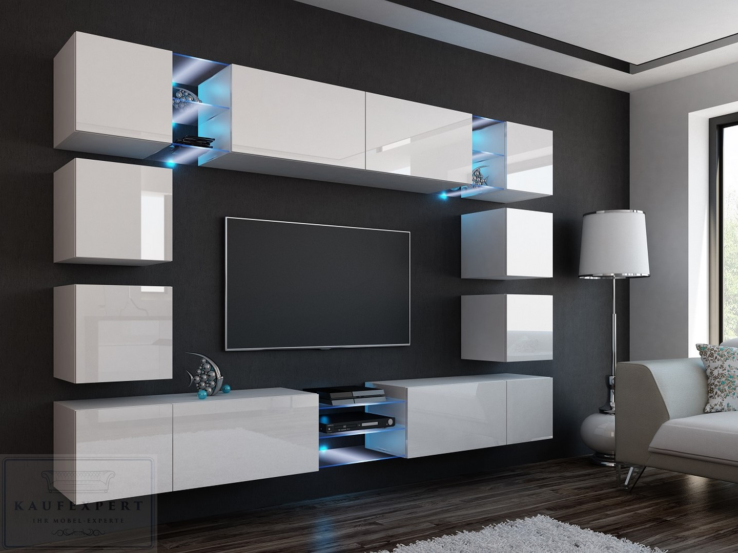wohnwand italian design. Black Bedroom Furniture Sets. Home Design Ideas