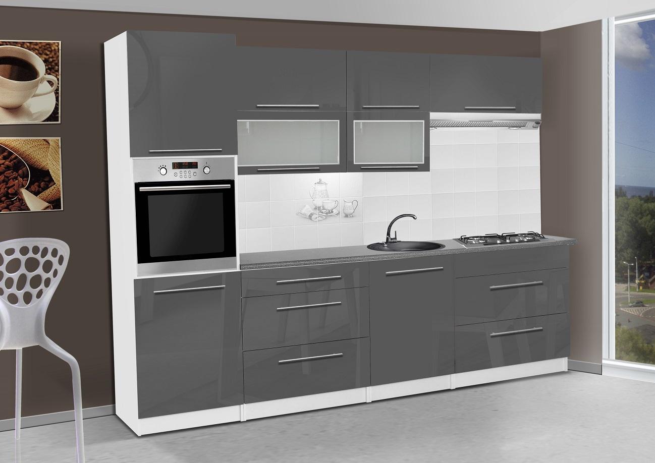 k chenzeile elena 300 cm cappuccino hochglanz k che k chenblock arbeitsplatte ebay. Black Bedroom Furniture Sets. Home Design Ideas