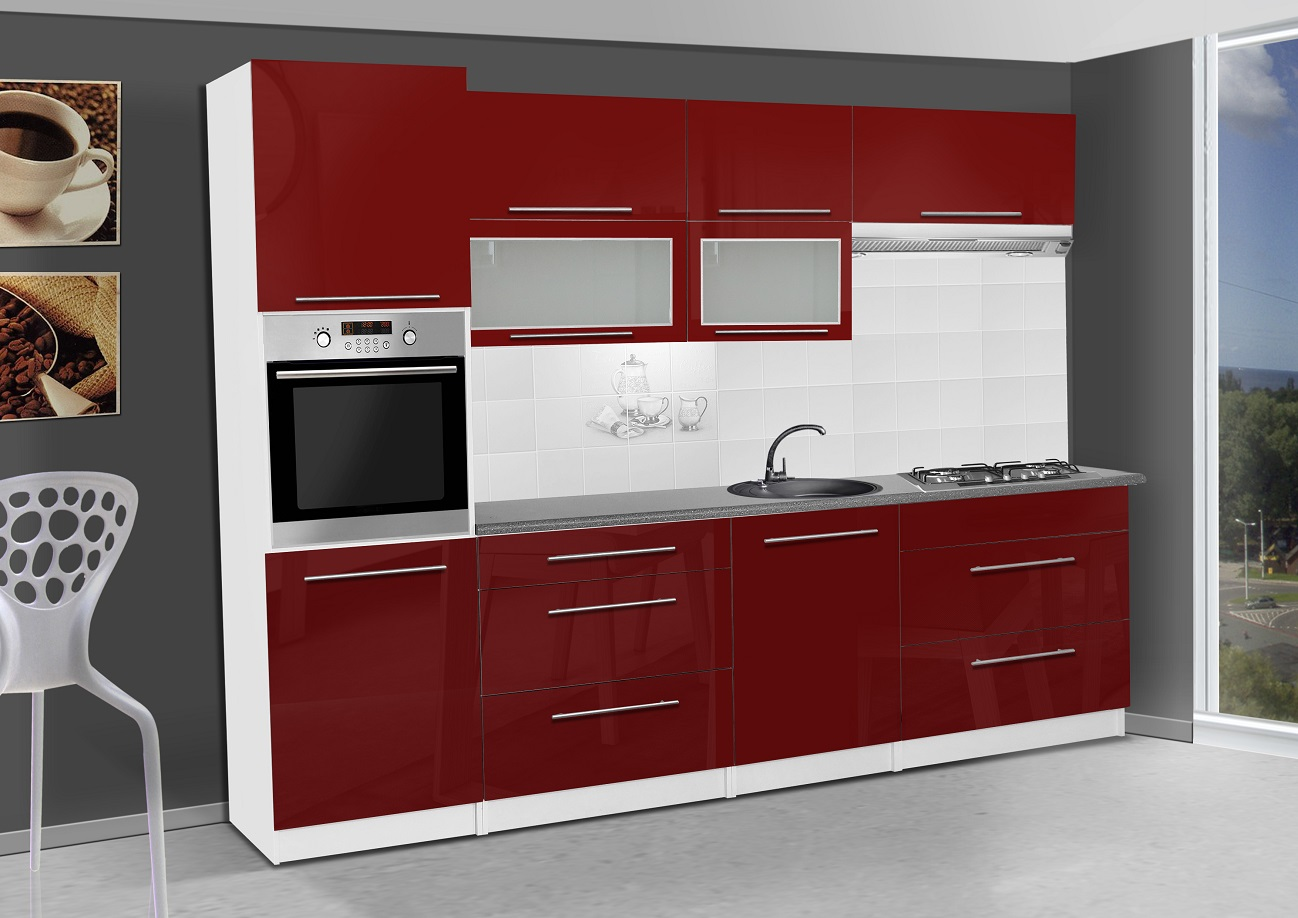 k chenzeile elena 300 cm rot hochglanz k che k chenblock arbeitsplatte mdf ebay. Black Bedroom Furniture Sets. Home Design Ideas
