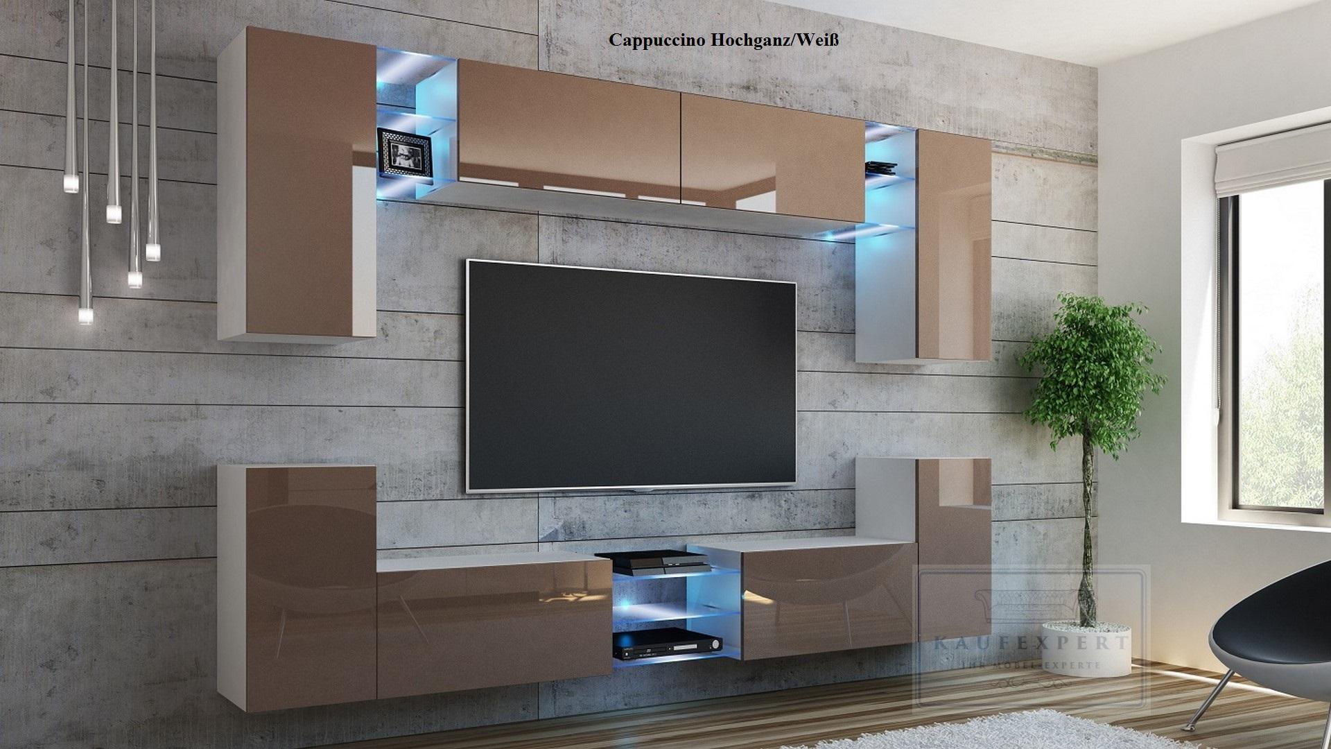 wohnwand galaxy schwarz hochglanz beleuchtung h ngewand. Black Bedroom Furniture Sets. Home Design Ideas