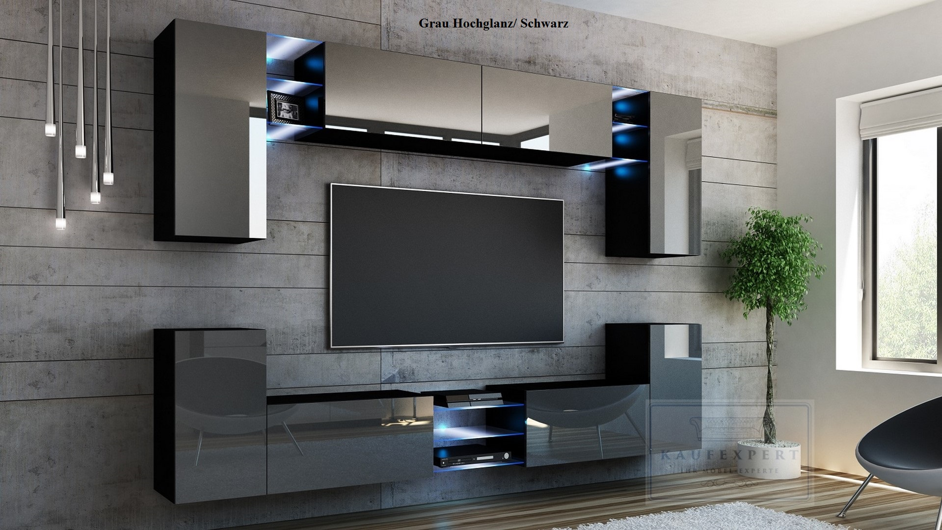 wohnwand galaxy wei schwarz hochglanz anbauwand wohnwand led beleuchtung modern ebay. Black Bedroom Furniture Sets. Home Design Ideas