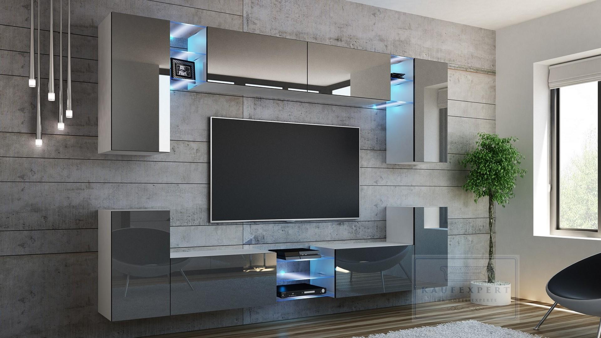 wohnwand galaxy 270 neue bessere version mdf hochglanz concept mediawand led ebay. Black Bedroom Furniture Sets. Home Design Ideas