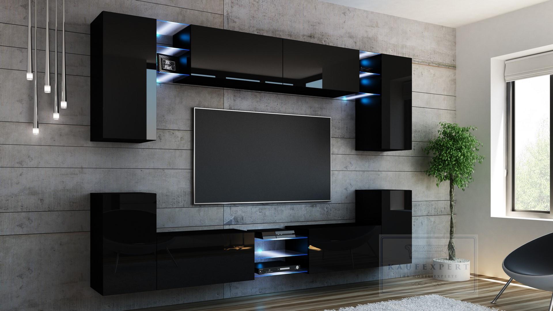 wohnwand galaxy schwarz hochglanz led beleuchtung anbauwand mediawand design ebay. Black Bedroom Furniture Sets. Home Design Ideas