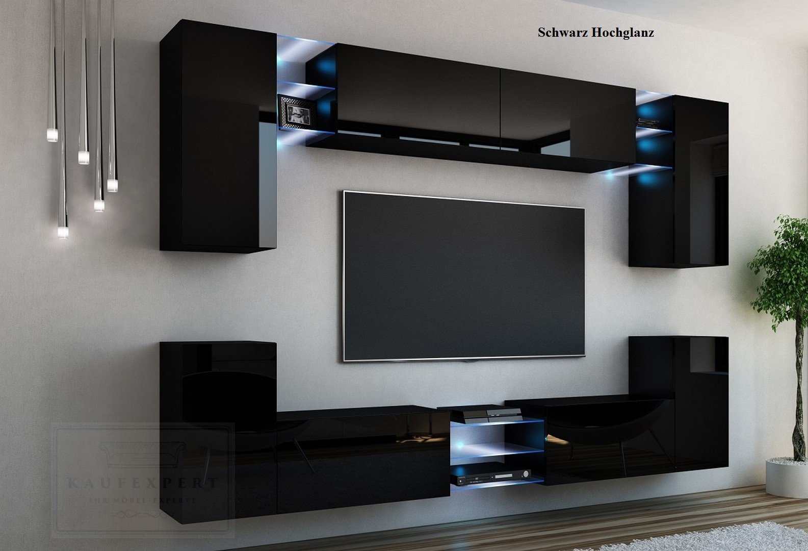 wohnwand galaxy wei schwarz hochglanz anbauwand wohnwand led beleuchtung modern ebay. Black Bedroom Furniture Sets. Home Design Ideas