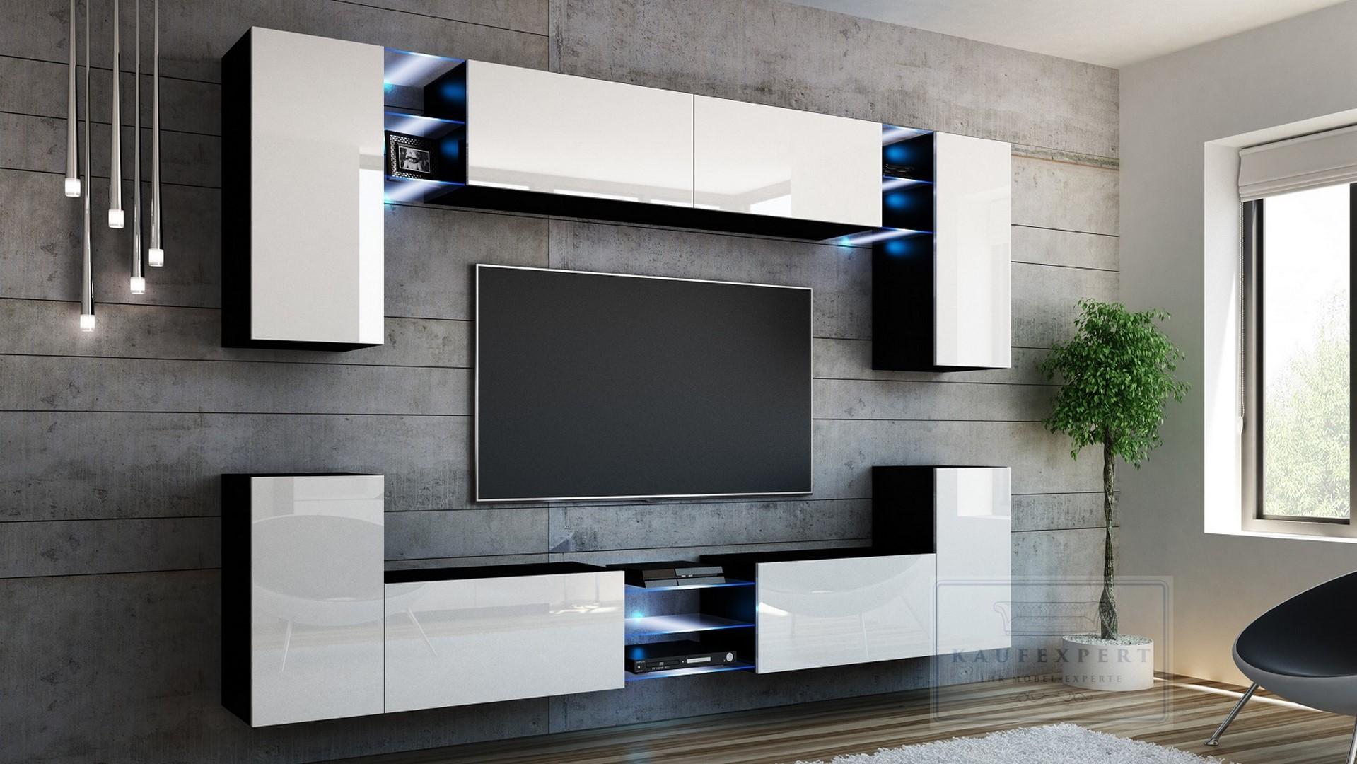 Wohnwand weiß schwarz hochglanz  Wohnwand Galaxy Weiß/Schwarz Hochglanz Anbauwand Wohnwand LED ...