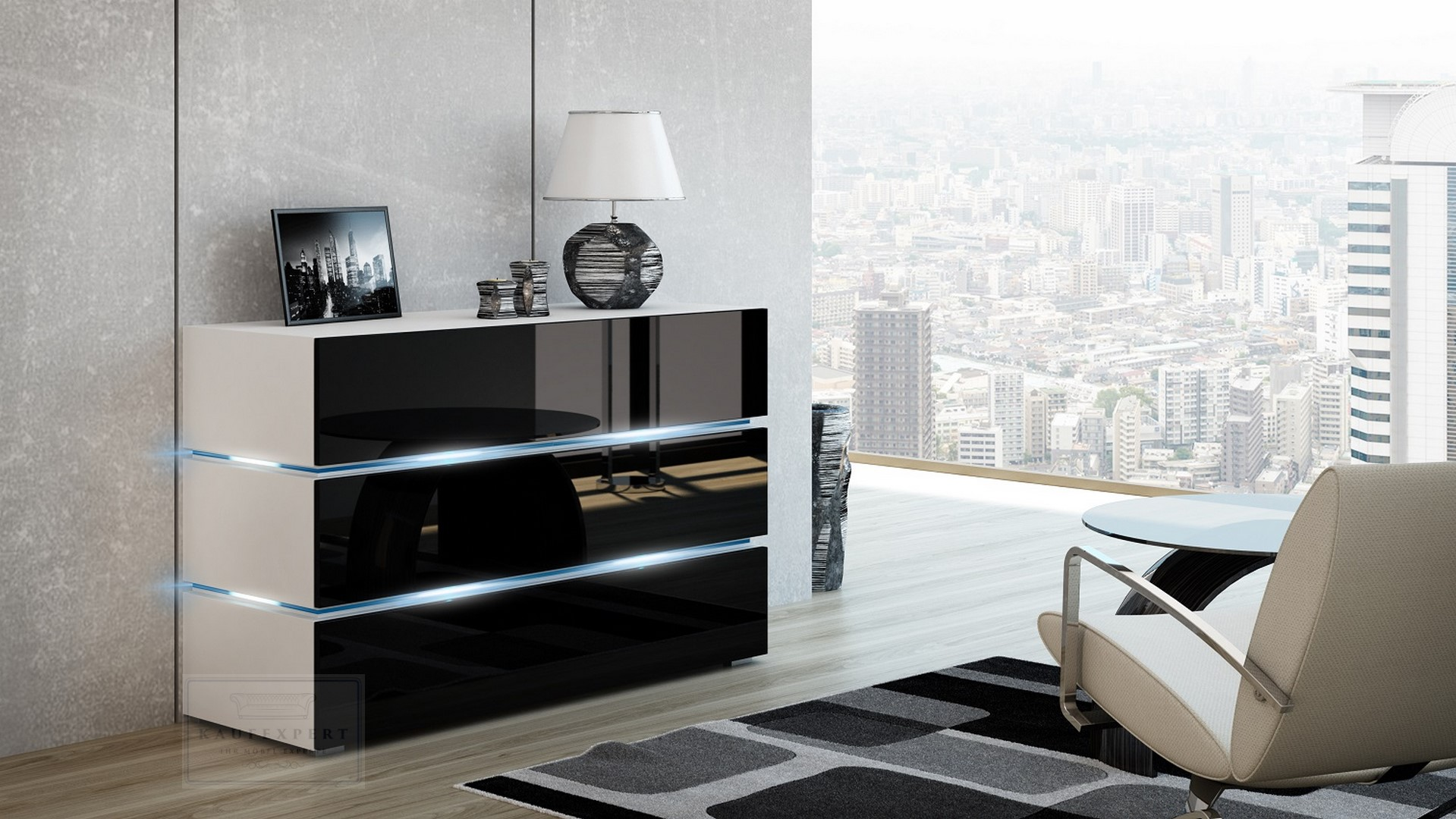 sideboard shine schwarz wei kommode led anrichte wohnwand galaxy sigma ebay. Black Bedroom Furniture Sets. Home Design Ideas