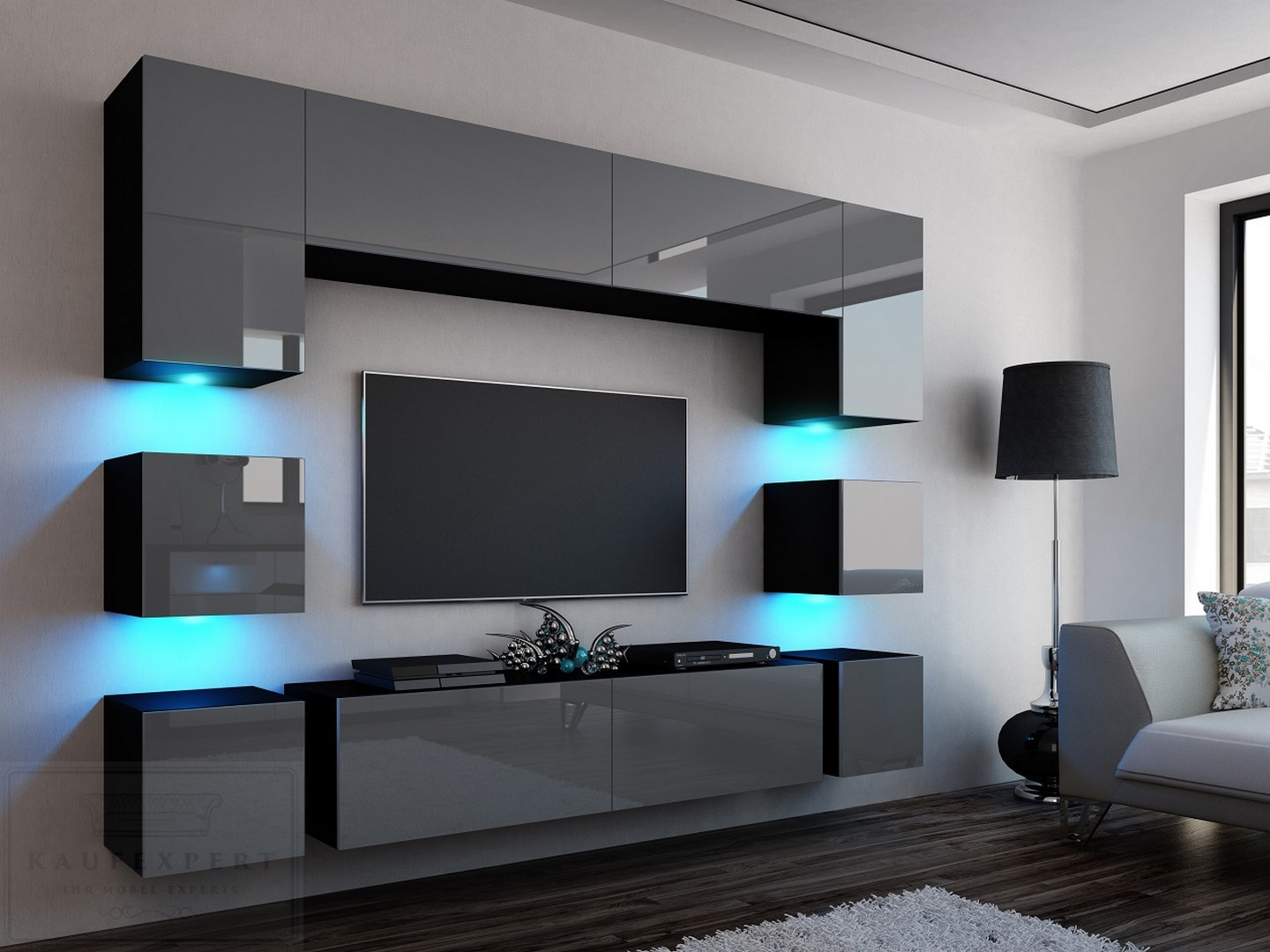 neuheit wohnwand quadro 228 wei hochglanz led beleuchtung mirage orion project ebay. Black Bedroom Furniture Sets. Home Design Ideas
