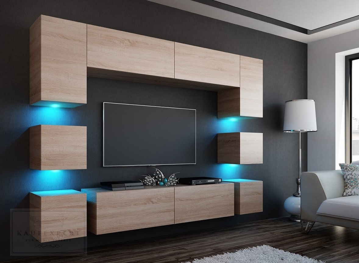neuheit wohnwand quadro 228 sonoma eiche matt beleuchtung mirage orion project ebay. Black Bedroom Furniture Sets. Home Design Ideas