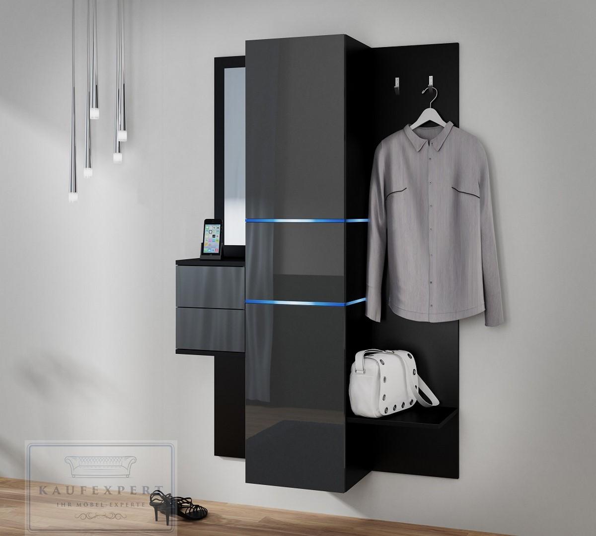 garderobe camino neue bessere version grau hochglanz wei led flurgarderobe set ebay. Black Bedroom Furniture Sets. Home Design Ideas