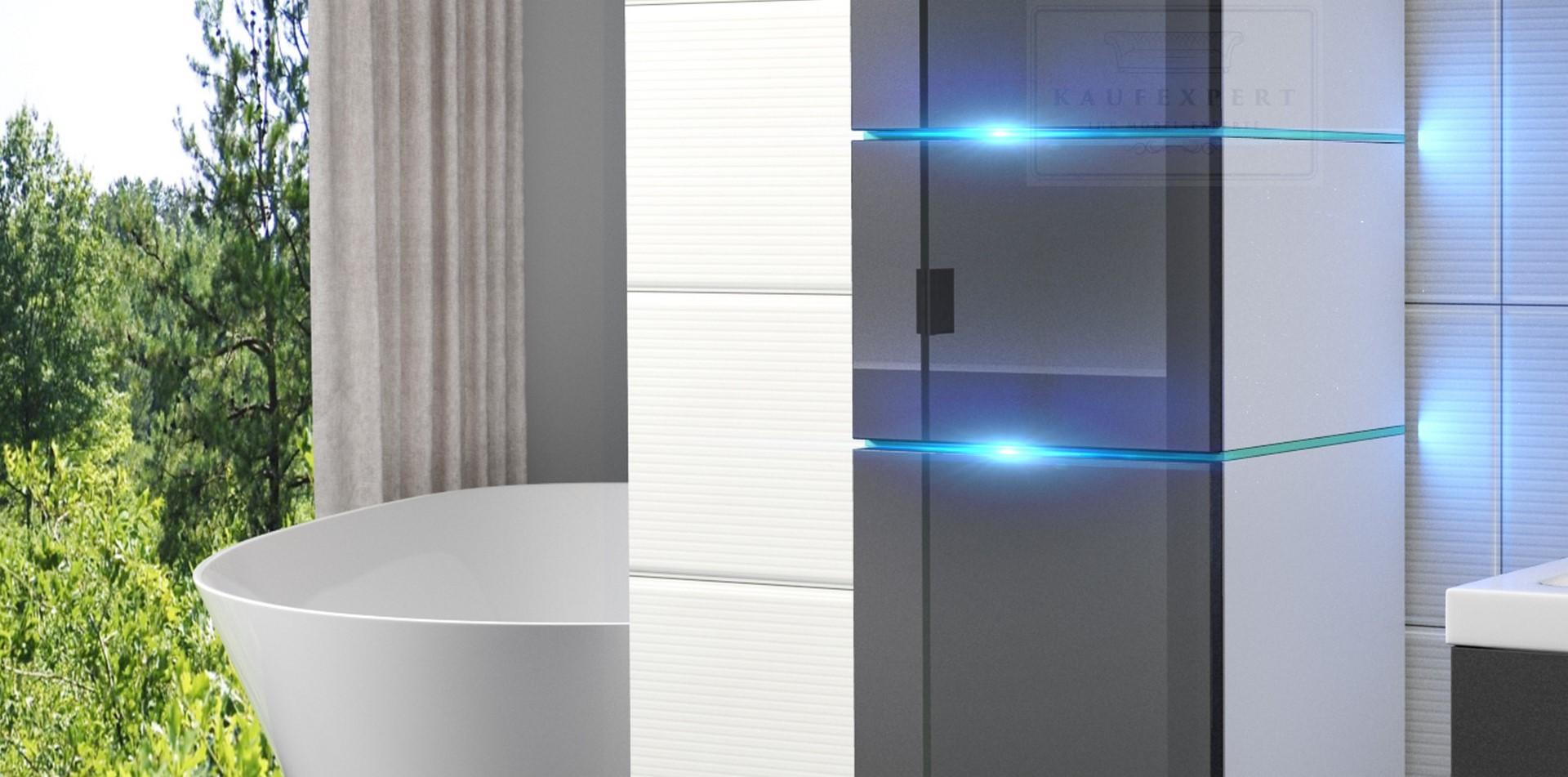 badm bel set ledox 170 cm grau hochglanz wei led beleuchtung badezimmerm bel ebay. Black Bedroom Furniture Sets. Home Design Ideas