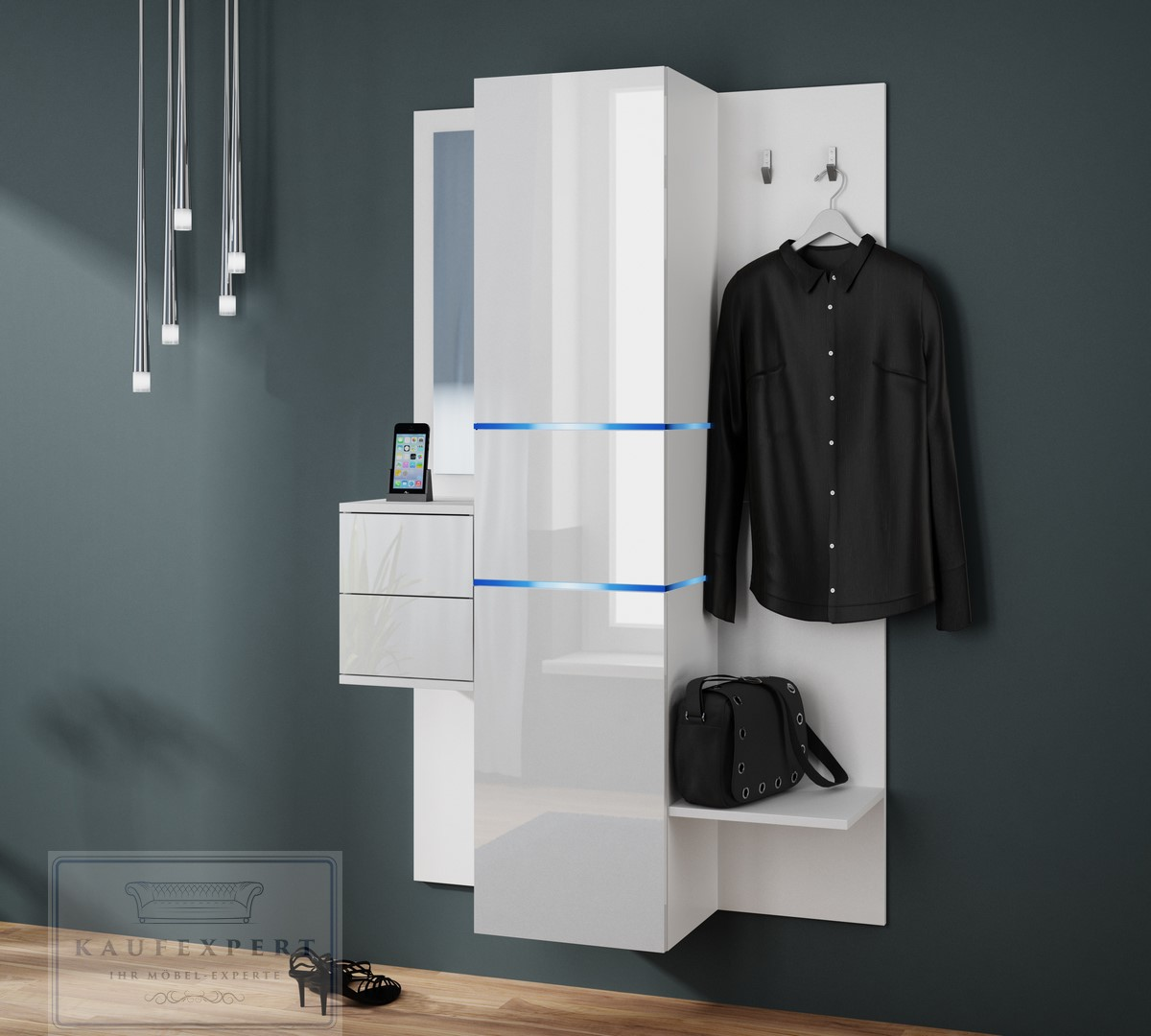 garderobe camino neue bessere version hochglanz wei led wandgarderobe ebay. Black Bedroom Furniture Sets. Home Design Ideas