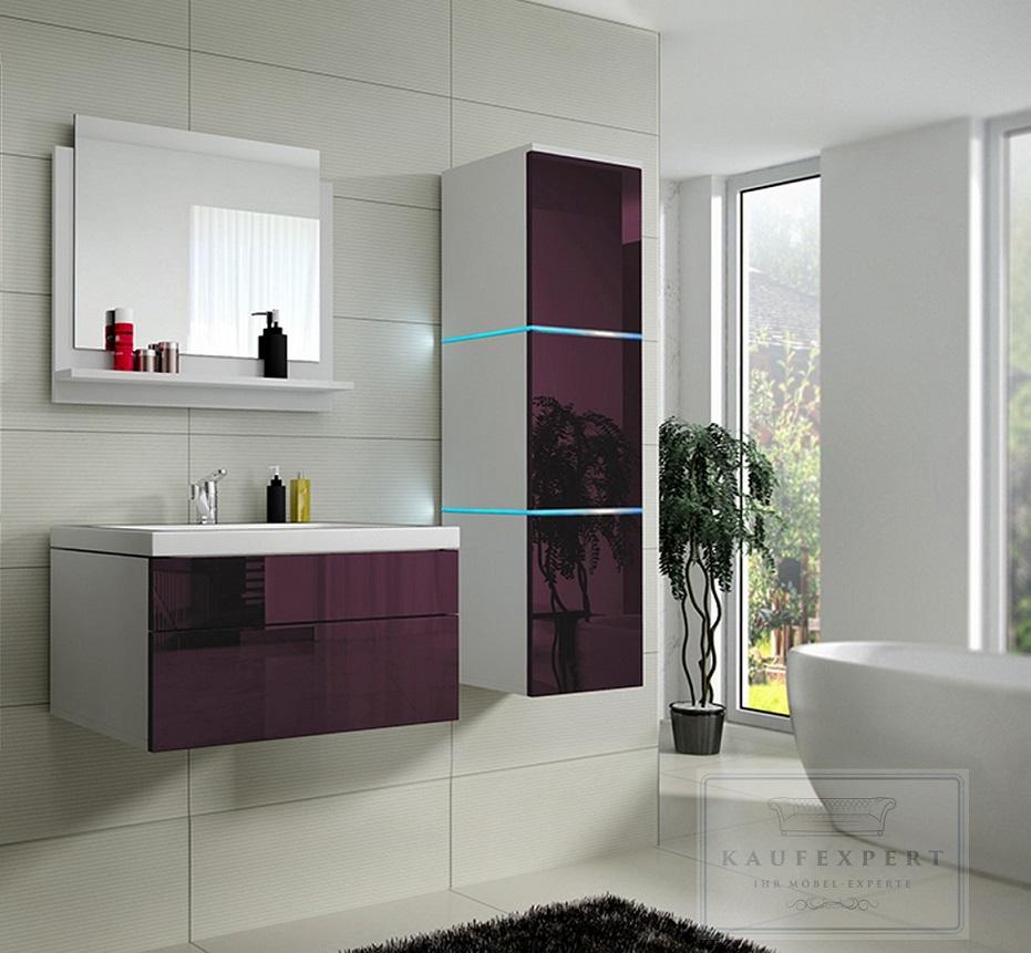 badm bel set lux 1 keramik badezimmerm bel aubergine hochglanz led beleuchtung. Black Bedroom Furniture Sets. Home Design Ideas