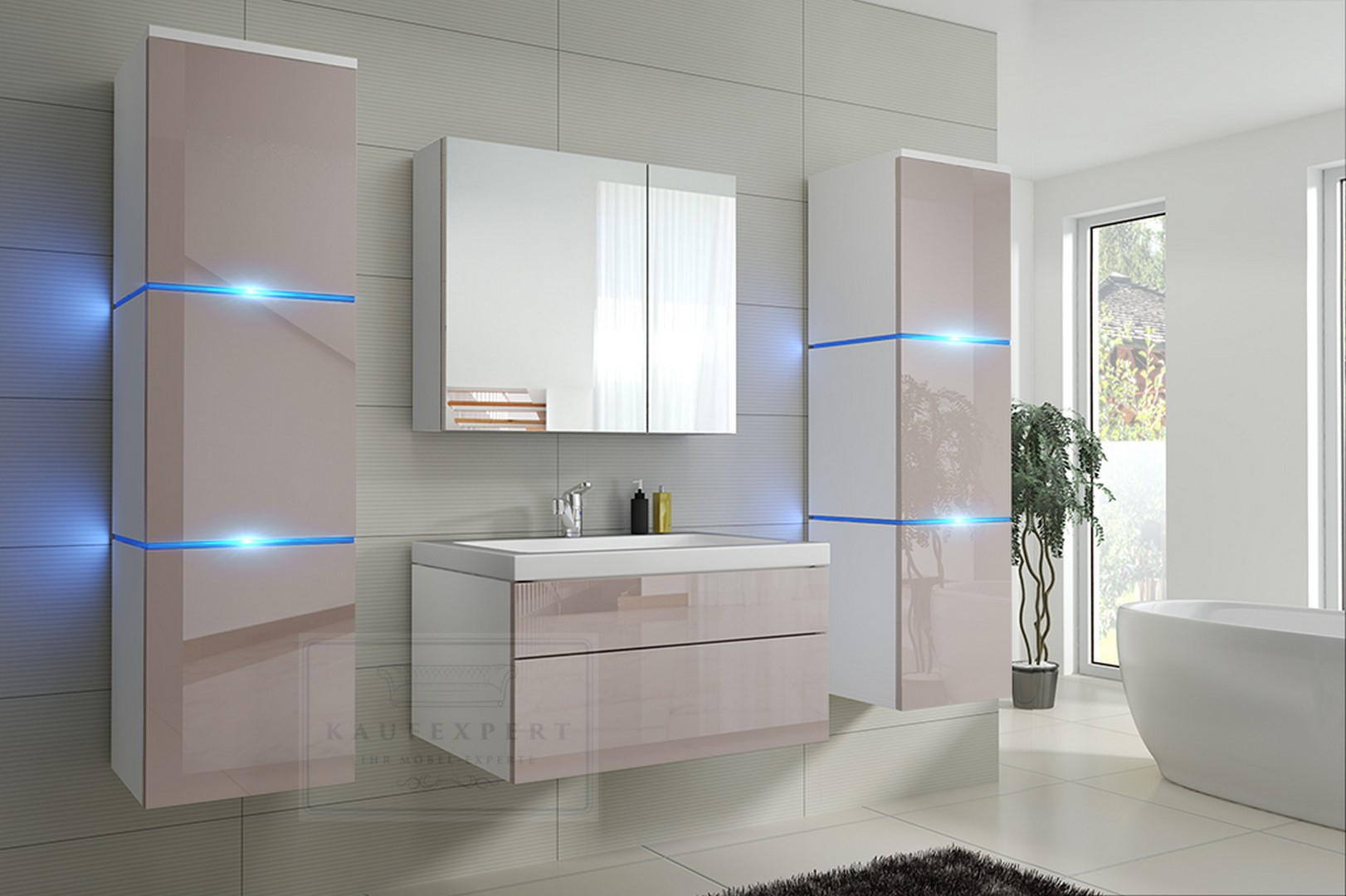 badm bel lux new badezimmerm bel keramik hochglanz holzoptik led beleuchtung ovp ebay. Black Bedroom Furniture Sets. Home Design Ideas
