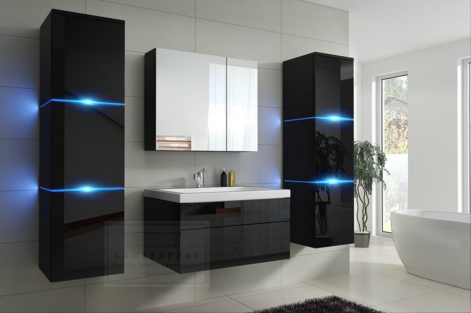 badm bel lux new badezimmerm bel keramik hochglanz holzoptik led beleuchtung ovp ebay. Black Bedroom Furniture Sets. Home Design Ideas