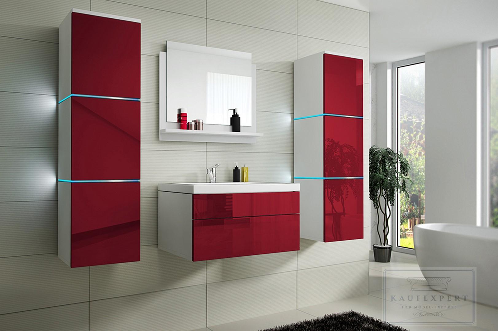 badm bel set lux keramik badezimmerm bel rot hochglanz led. Black Bedroom Furniture Sets. Home Design Ideas