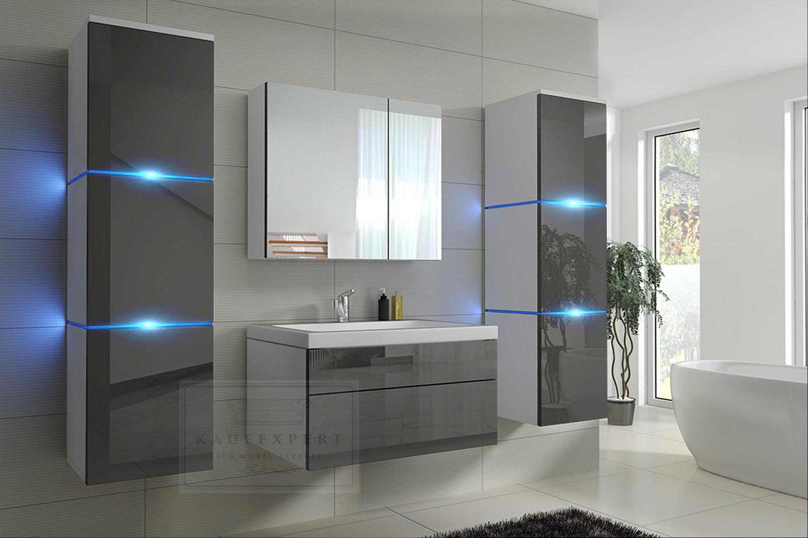 badm bel lux new mdf badezimmerm bel grau hochglanz wei keramikbecken led ebay. Black Bedroom Furniture Sets. Home Design Ideas