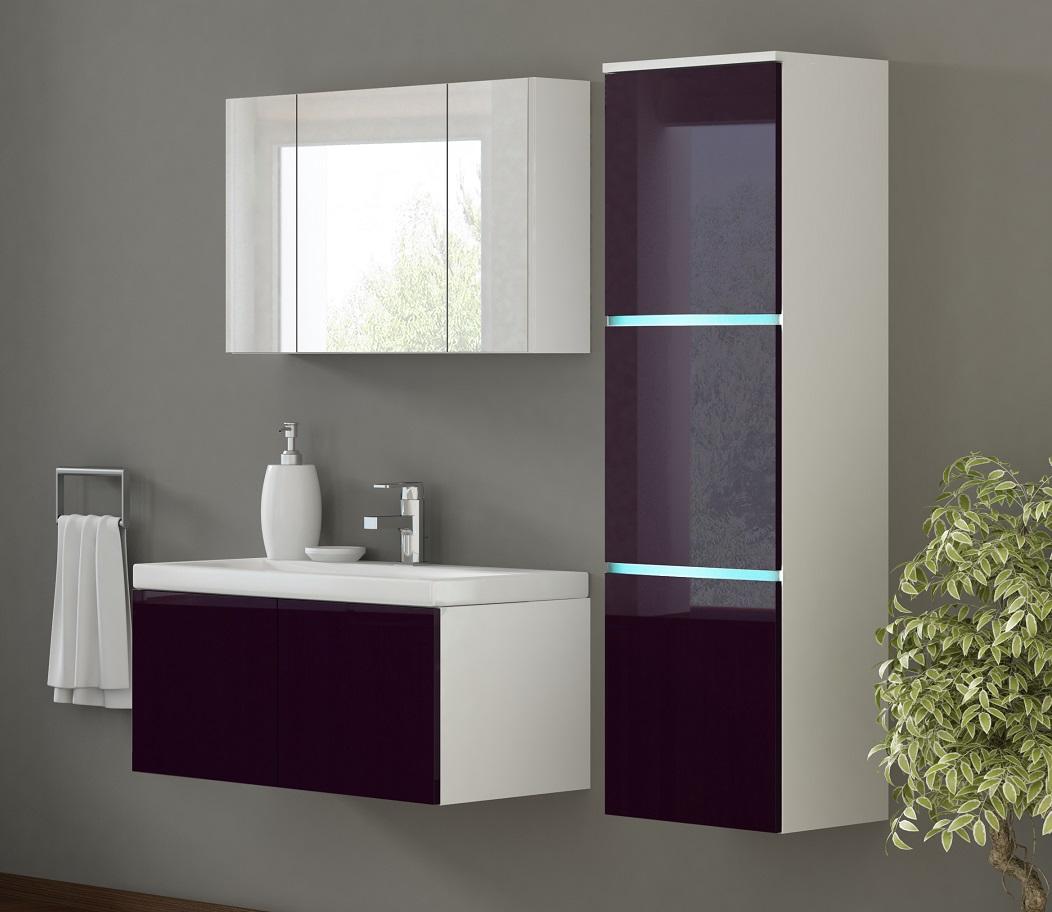 badm bel set luxus xxl aubergine hochglanz wei led. Black Bedroom Furniture Sets. Home Design Ideas