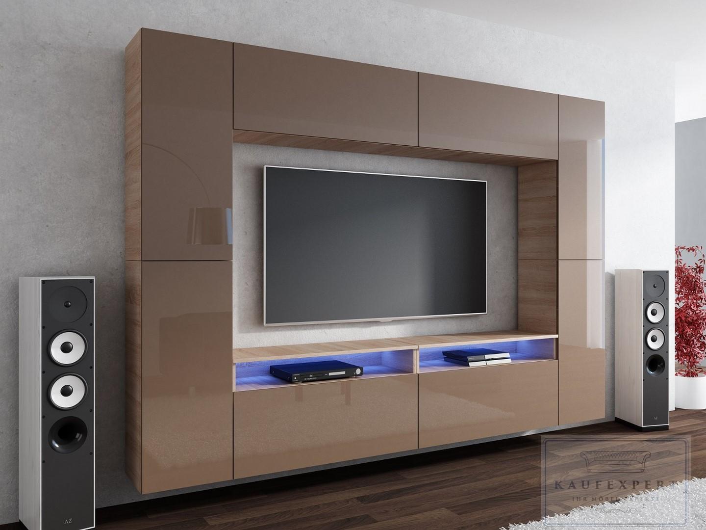 wohnwand hochglanz galaxy grau wei mediawand led kino mirage concept modern ebay. Black Bedroom Furniture Sets. Home Design Ideas
