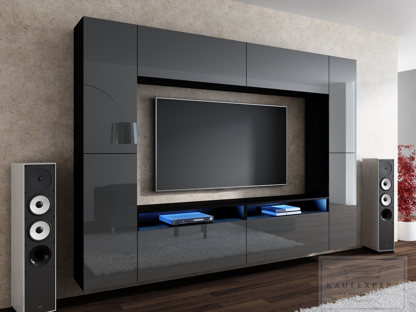wohnwand cinema grau hochglanz schwarz design modern led. Black Bedroom Furniture Sets. Home Design Ideas
