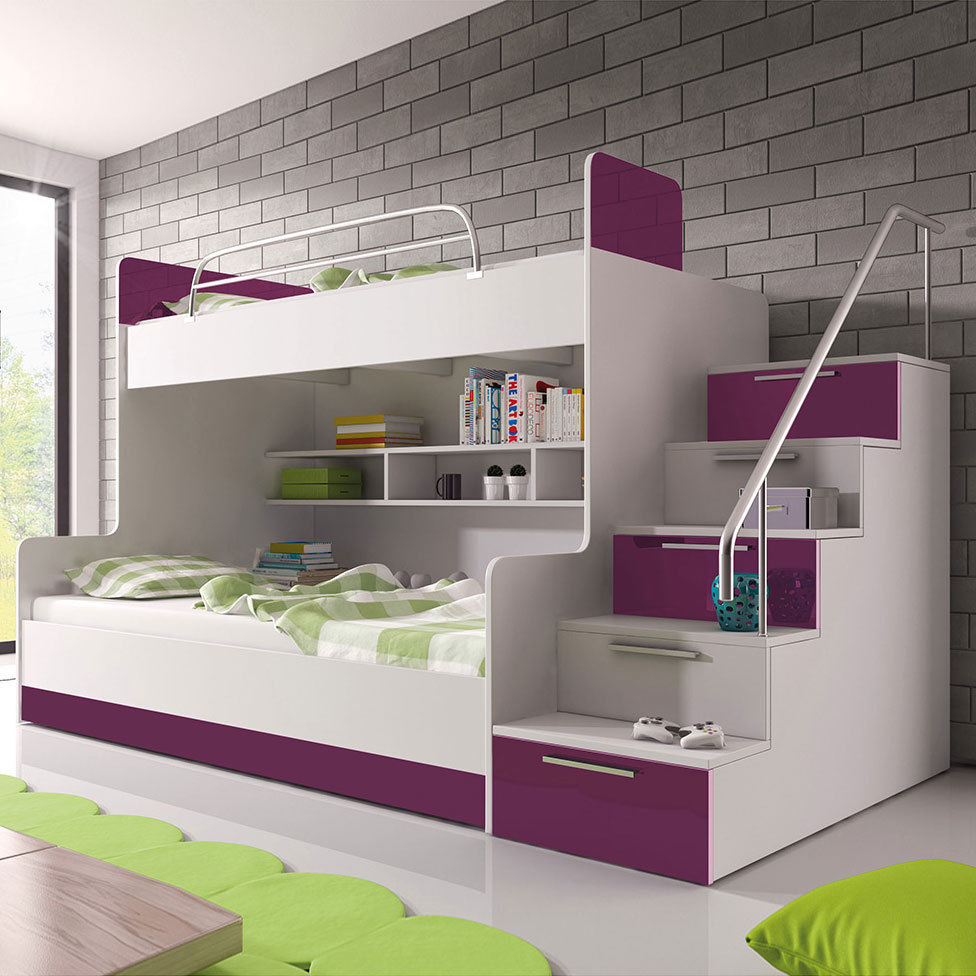 doppelstockbett etagenbett hochglanz hochbett kinderbett. Black Bedroom Furniture Sets. Home Design Ideas