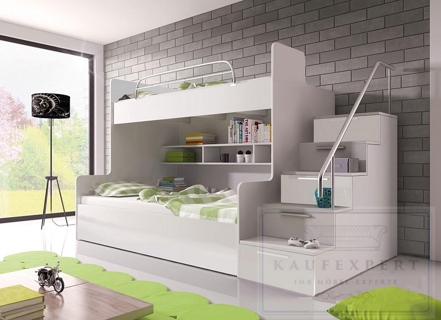 Doppelstockbett uvp 899 stabil etagenbett hochglanz - Doppelstockbett mit treppe ...