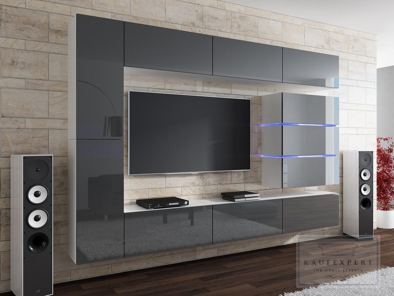 Wohnwand shine grau wei hochglanz led beleuchtung for Design wohnwand