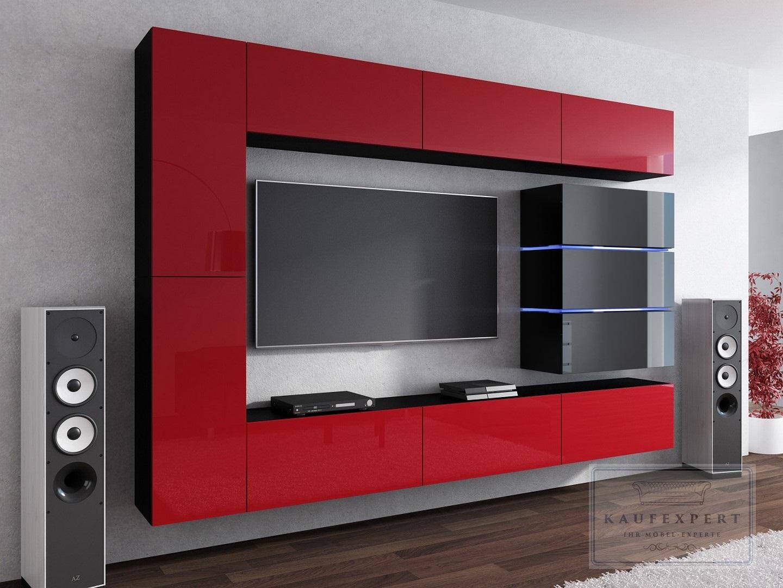 Wohnwand shine design rot hochglanz beleuchtung h ngewand for Wohnwand rot