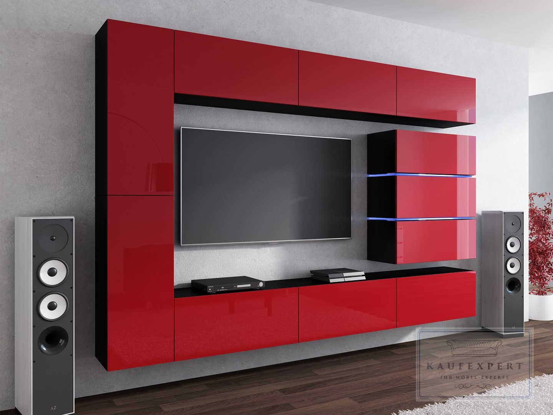Wohnwand shine hochglanz led concept soggiorno wand for Wohnwand rot