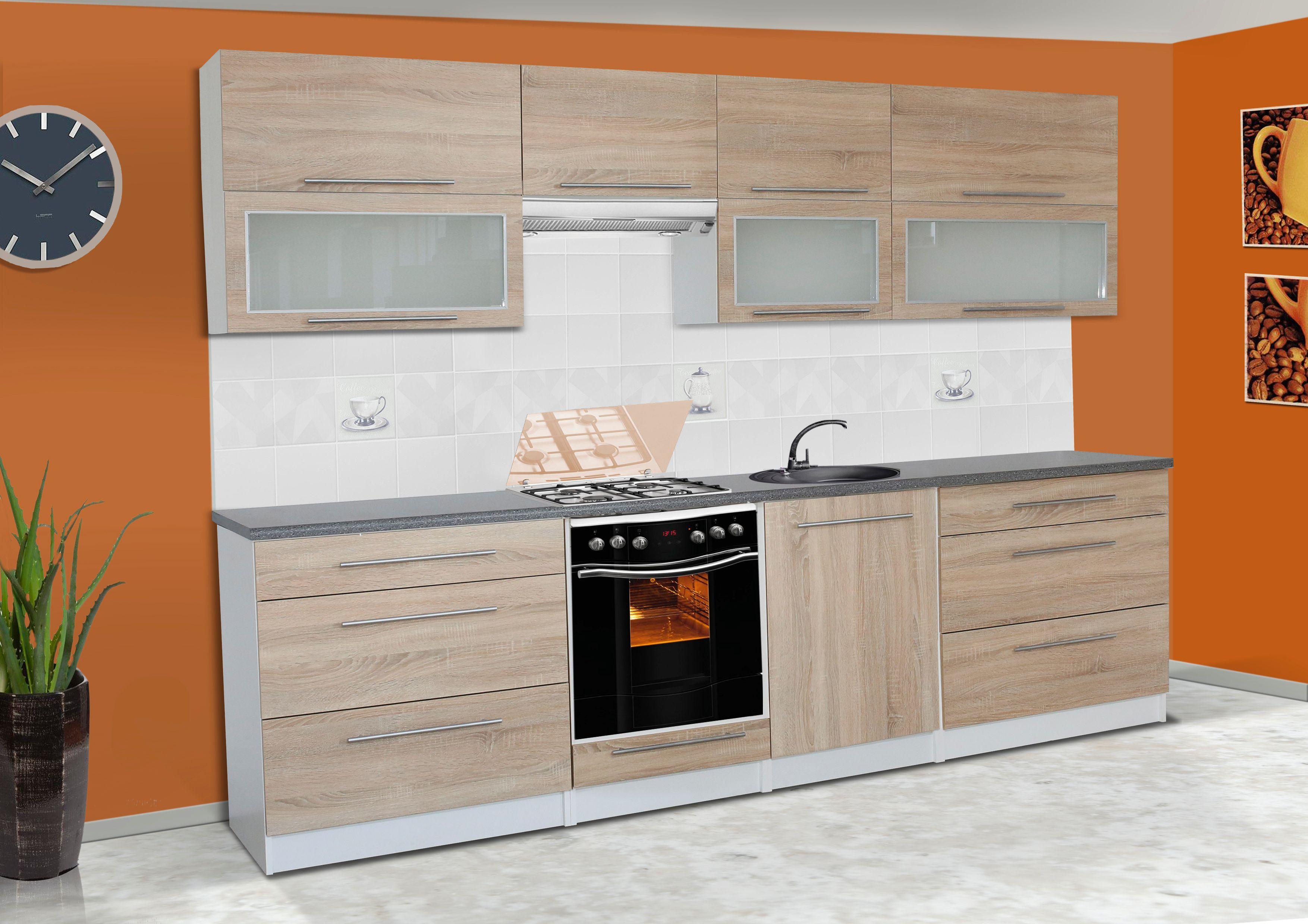k che k chenzeile k chenblock sonoma 280 cm arbeitsplatte relinggriffe ebay. Black Bedroom Furniture Sets. Home Design Ideas