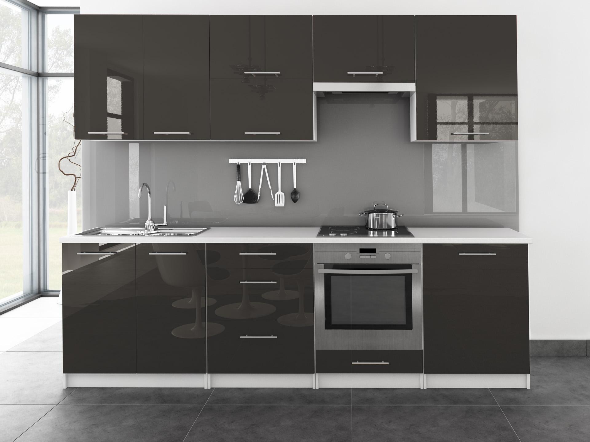 k chenzeile toro 260 cm wei hochglanz farbwahl mdf fronten k che reling ebay. Black Bedroom Furniture Sets. Home Design Ideas