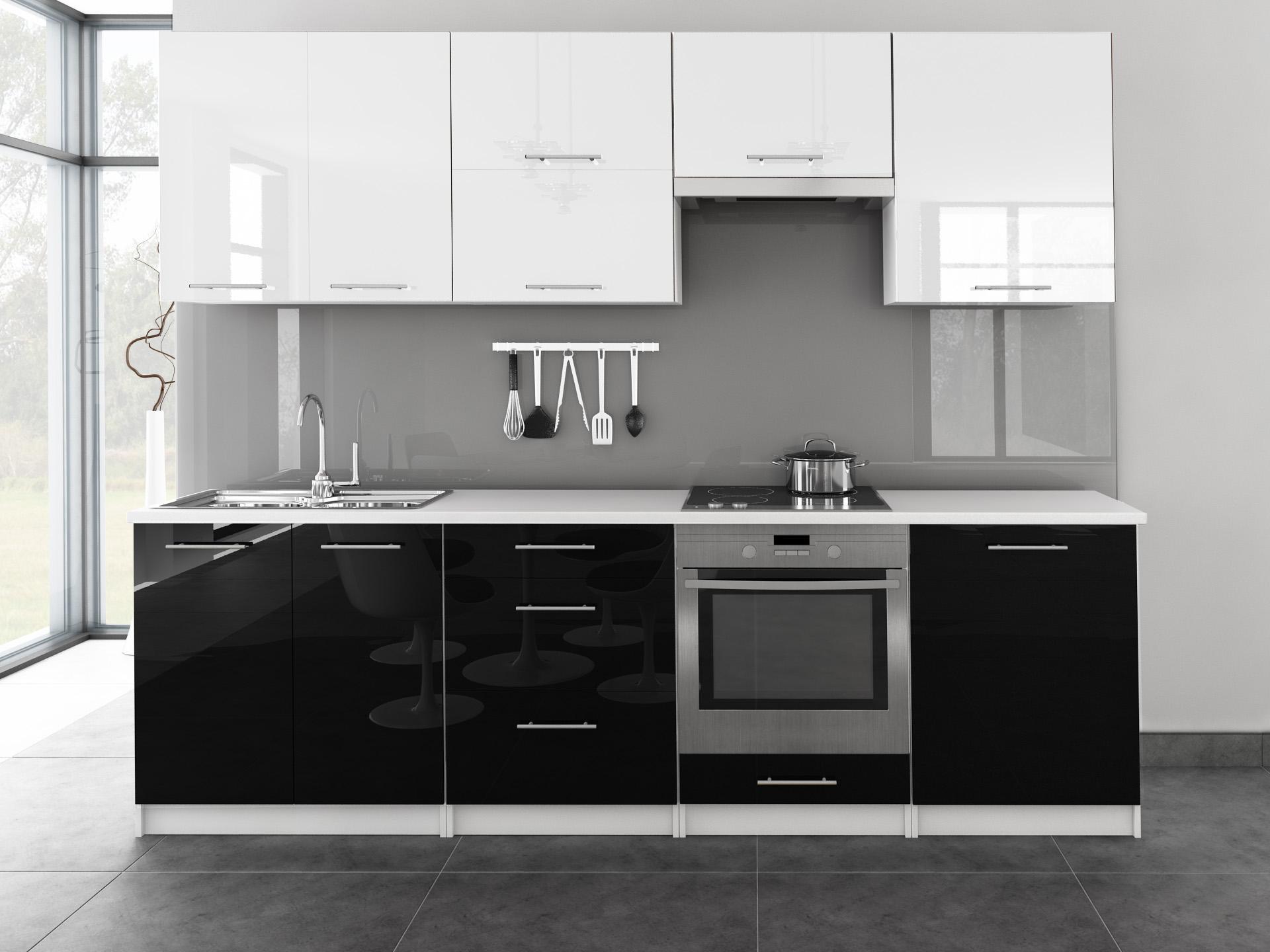 k chenzeile toro 260 cm farbwahl schwarz hochglanz mdf fronten k che reling ebay. Black Bedroom Furniture Sets. Home Design Ideas