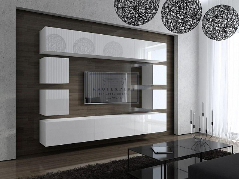neuheit wohnwand vita wei schwarz hochglanz mediawand tv wand modern design ebay. Black Bedroom Furniture Sets. Home Design Ideas
